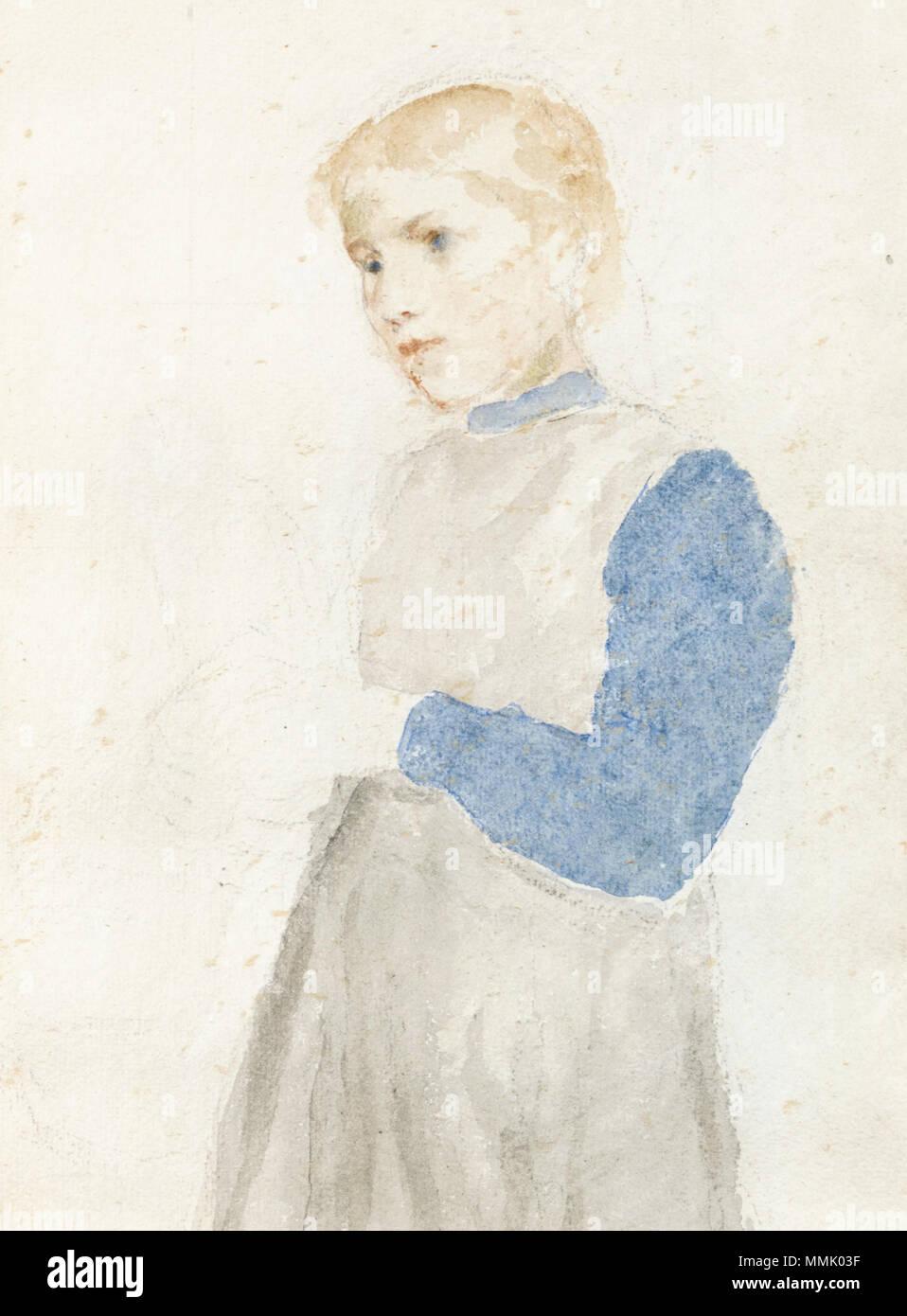 Albert Anker - Studie eines stehenden Mädchens (1908) Stock Photo