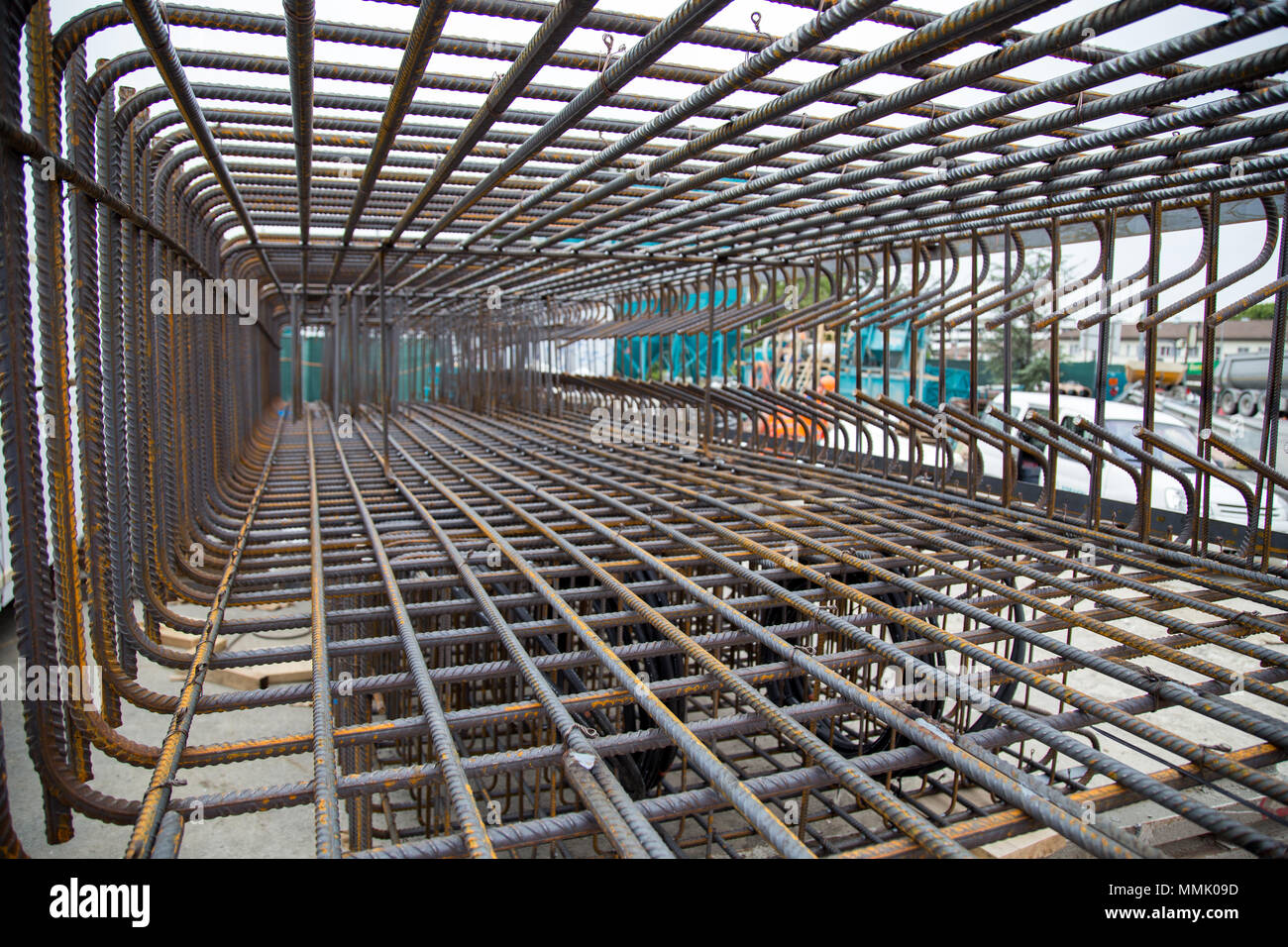 Steel Reinforcement Cage - Stock Image