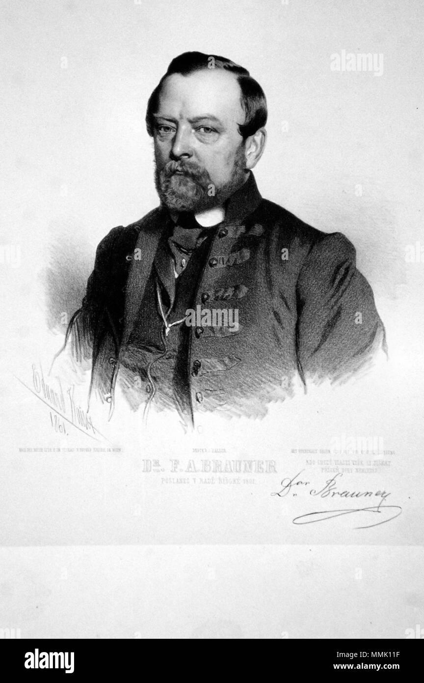 . Deutsch: Dr. Franz August Brauner (1810-1903), tschechischer Abgeordneter und Politiker. Lithographie von Eduard Kaiser, 1861  . 1851. Eduard Kaiser (1820-1895) Franz August Brauner Litho - Stock Image