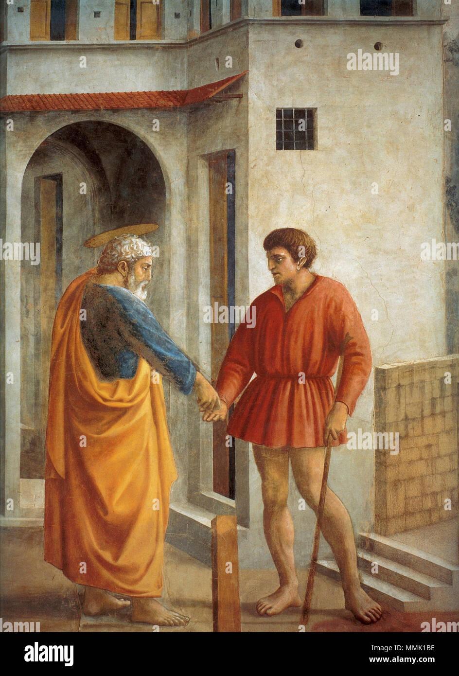 . detail (restaurato)  The Tribute Money. 1425. Cappella brancacci, Pagamento del tributo, dettaglio (restaurato), Masaccio - Stock Image