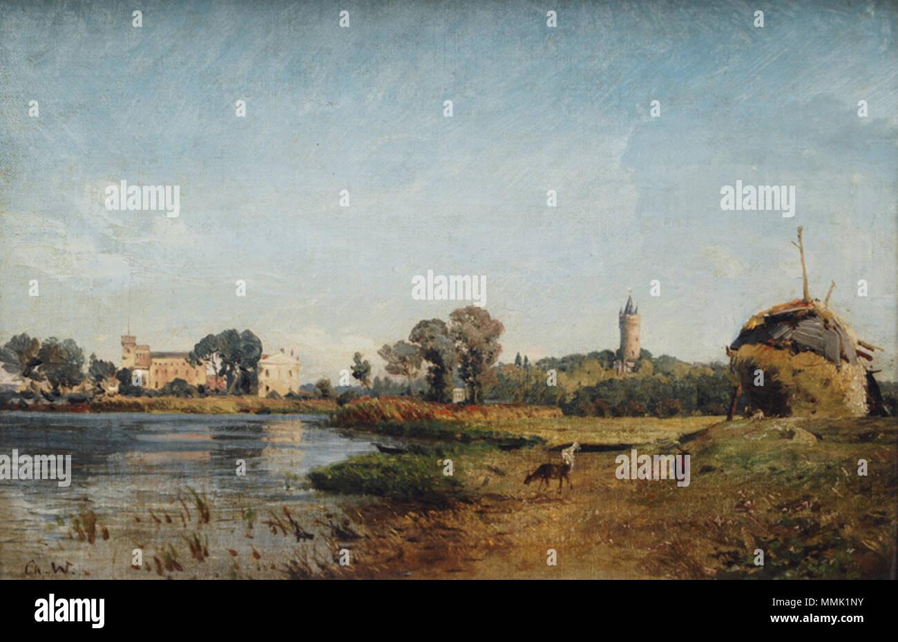 .  Deutsch: Vorne rechts die Mündung der Nuthe in die Havel.  Deutsch: Havellandschaft . Unknown date. Christian Johannes Wilberg - Havellandschaft Stock Photo