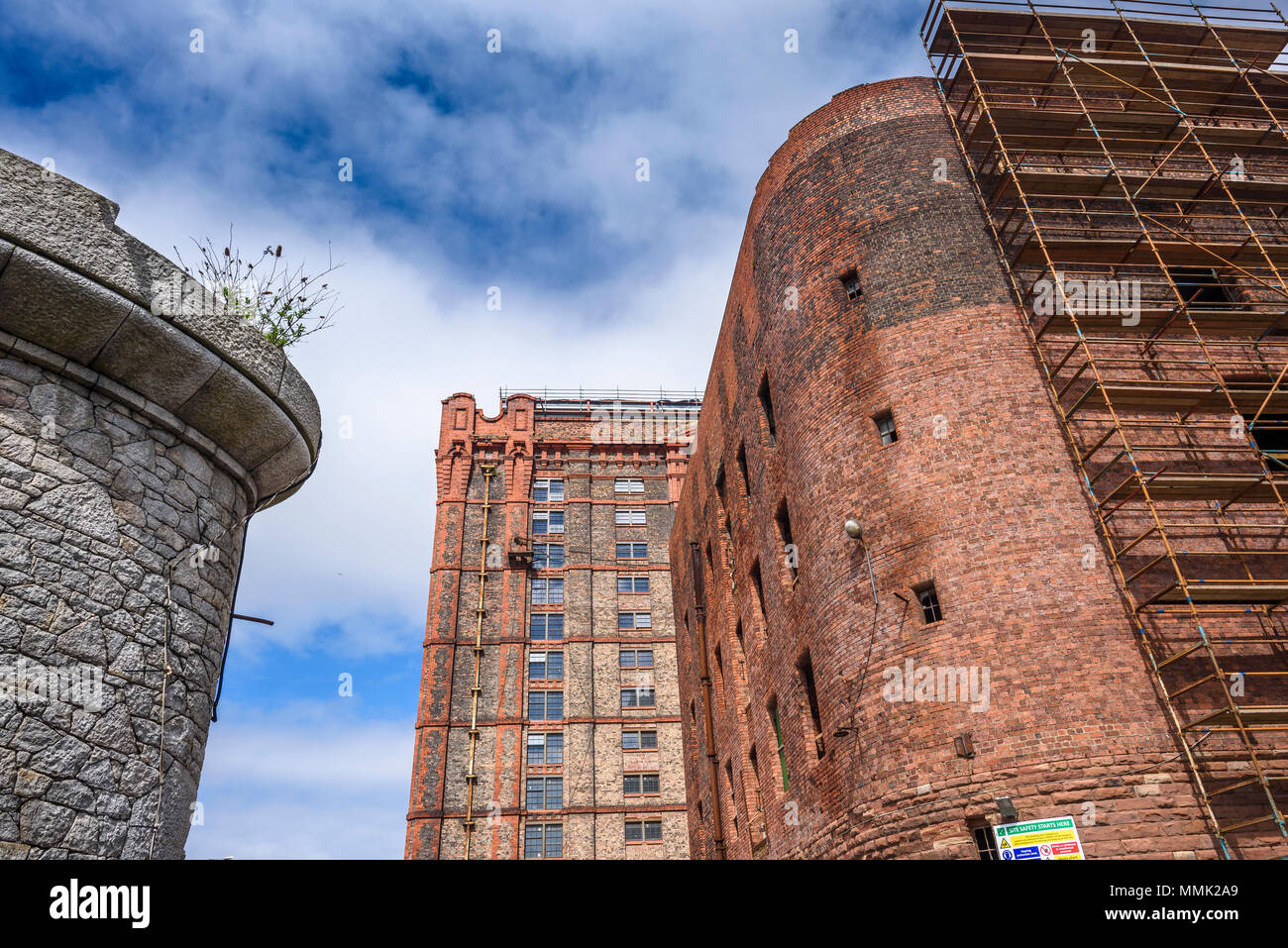 Renovation work on the South Warehouse (1852-55) and Stanley Dock Tobacco Warehouse (1901) Regent Road, Liverpool, Merseyside, England, UK April 2018. Stock Photo