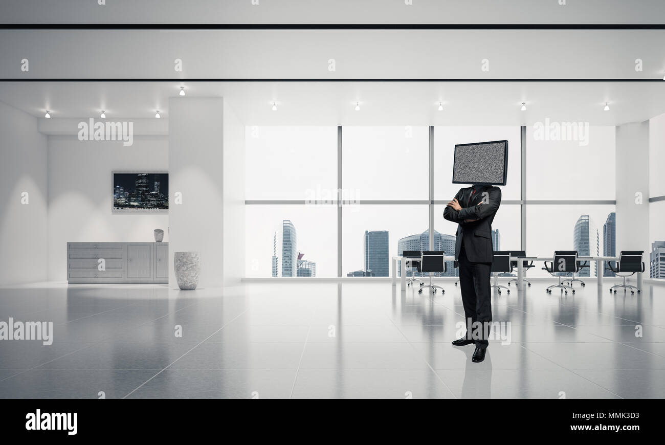 Businessman in suit with TV instead of head keeping arms crossed while standing inside office building. 3D rendering. Stock Photo