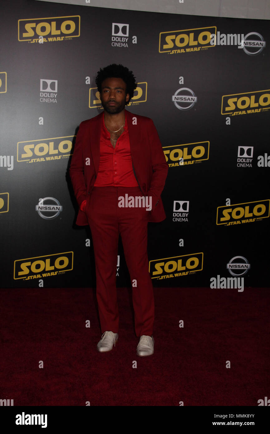 Donald Glover  05/10/2018 The World Premiere of 'Solo: A Star Wars Story' held at Hollywood, CA  Photo: Cronos/Hollywood News Credit: Cronos/Alamy Live News - Stock Image