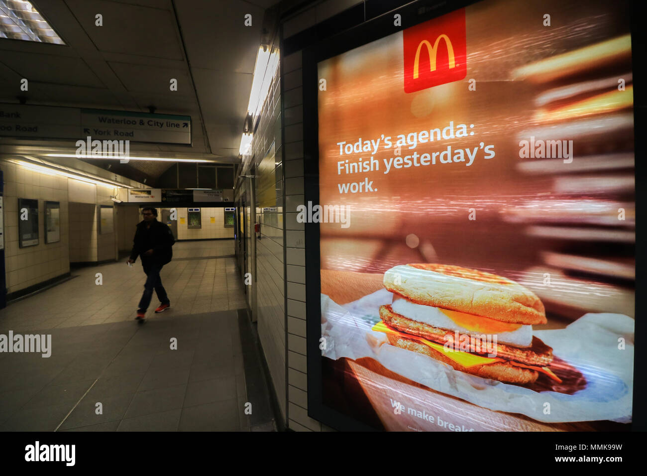 London UK. 12th May 2018. An underground station in Waterloo advertising cheap meals by fast food giant McDonlads. London Mayor Sadiq Khan has announced plans to ban junk food ads on London TFL iin order to reduce the growing epidemic of childhood obesity Credit: amer ghazzal/Alamy Live News - Stock Image