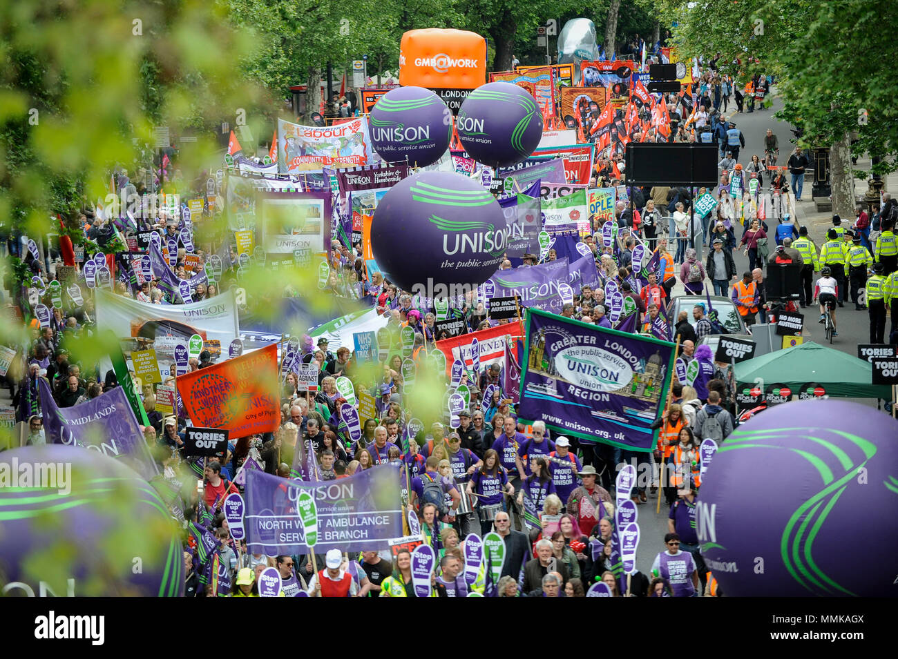 London, UK.  12 May 2018. People join a Trades Union Congress (TUC) march and rally in central London.   Thousands of demonstrators called for improved workers' pay and rights as well as improvement to pubic services as they marched from Embankment to Hyde Park.  Credit: Stephen Chung / Alamy Live News - Stock Image