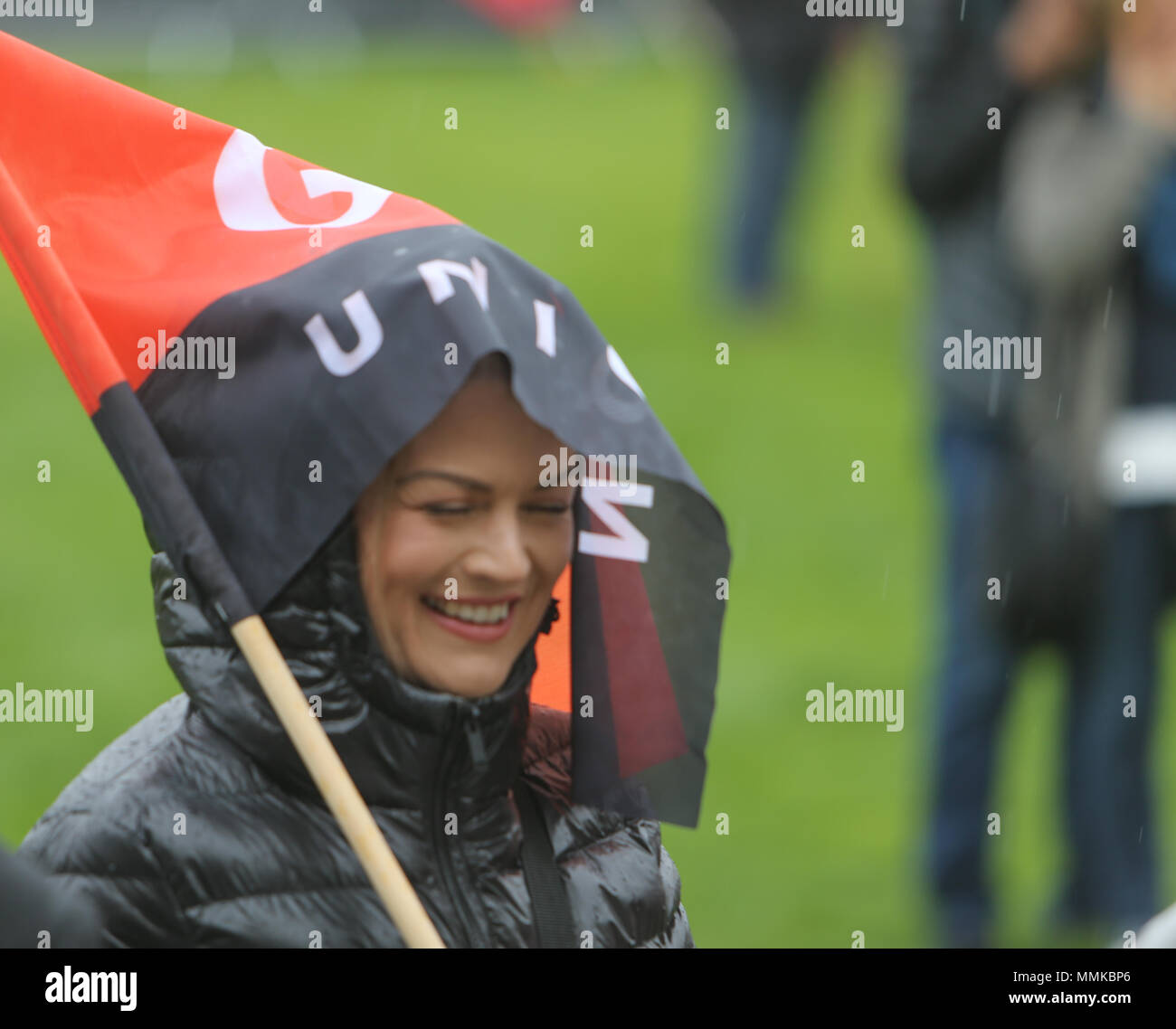 London UK 12 May 2018  Trades Union Congress (the umbrella organisation of Trade Unions) called a national demonstration under the slogan of 'A New Deal for Working People. Demanding  a real Living Wage for all workers, collective bargaining and union rights and an end to the 'gig-economy' .Speakers at the event were among many others Frances Lorraine O'Grady General Secretary of the British Trades Union Congress, Jeremy Corbyn Leader of the Labour Party and Leader of the Opposition since 2015. Credit: Paul Quezada-Neiman/Alamy Live News - Stock Image