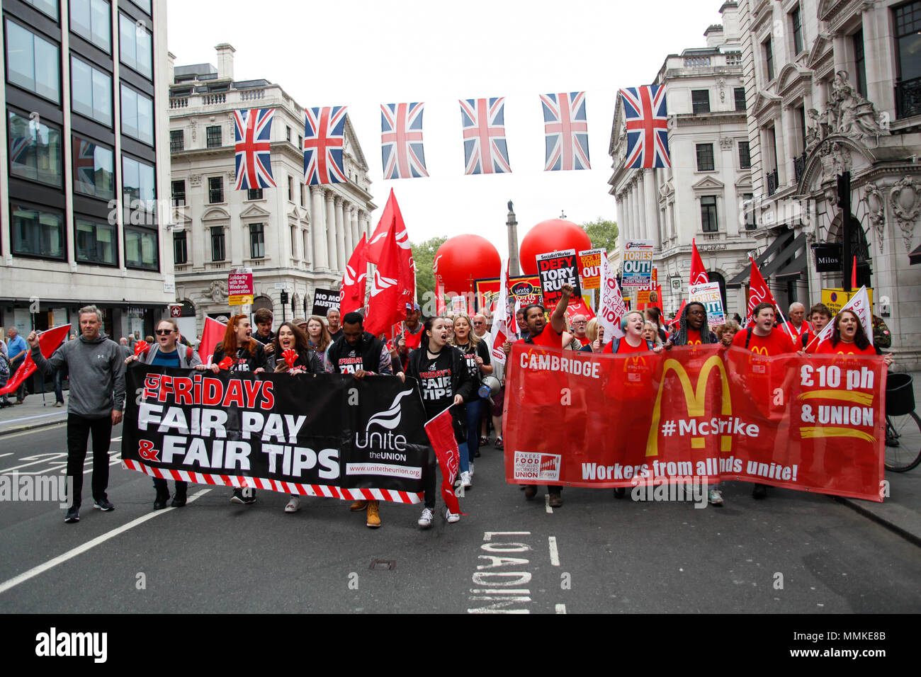 McDonalds and TGI Fridays workers at the TUC Rally - Stock Image