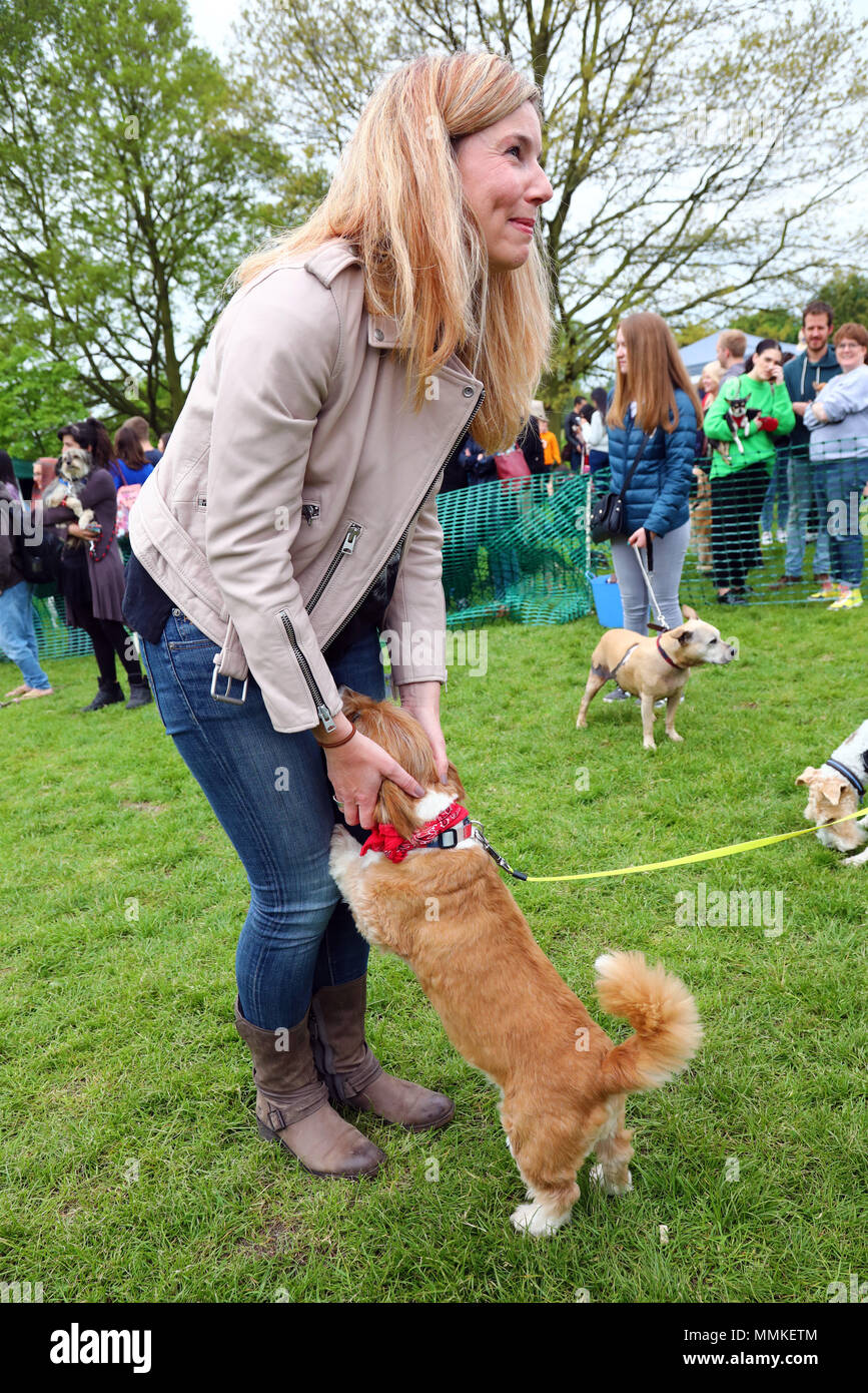 London, UK. 12th May 2018. Judge Pip Tomson at the All Dogs Matter Great Hampstead Bark Off, Hampstead Heat, London. All Dogs Matter is a charity dedicated to helping and re-homing dogs see www.alldogsmatter.co.uk for more information. Credit: Paul Brown/Alamy Live News Stock Photo