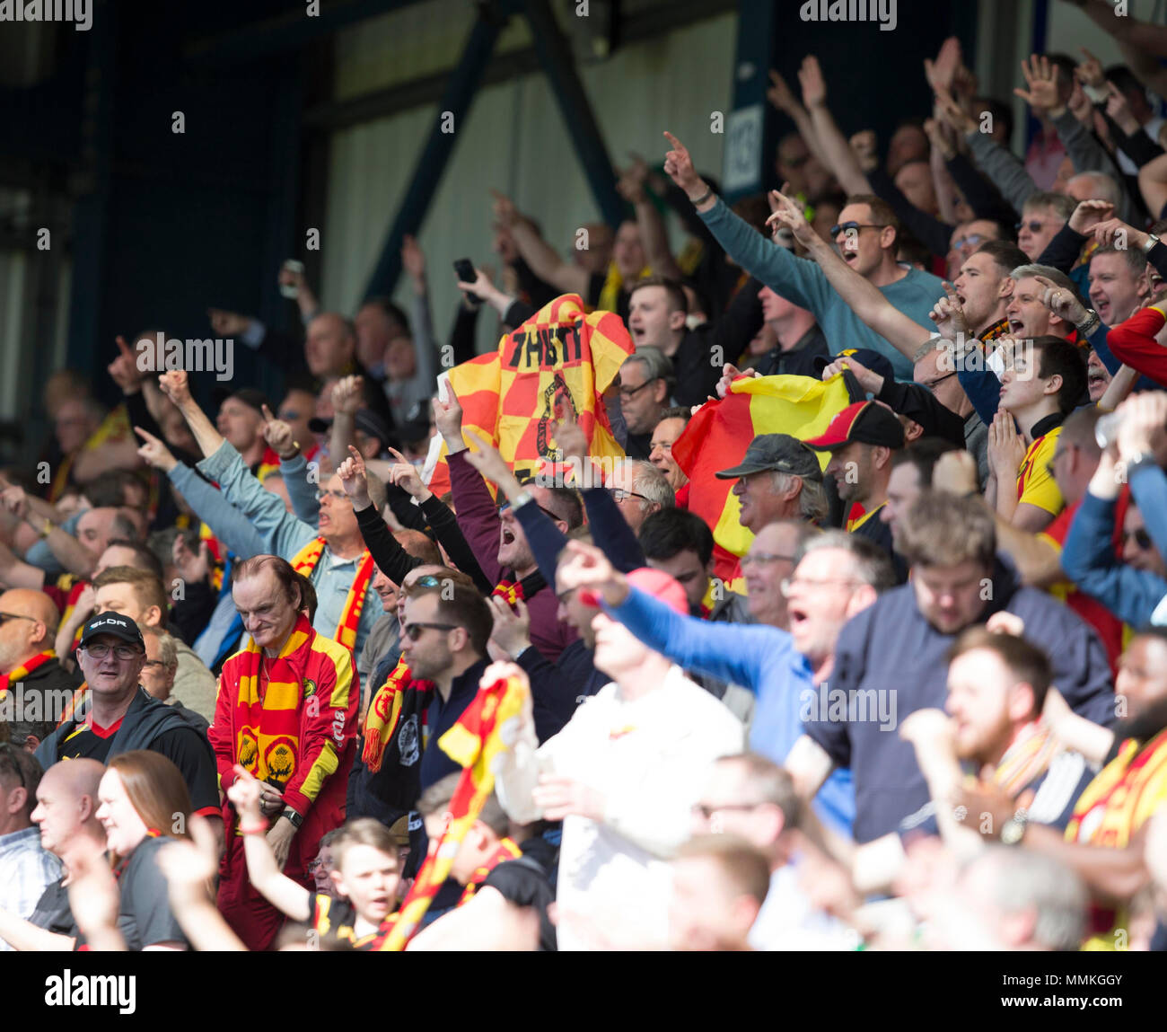 Dens Park, Dundee, UK. 12th May, 2018. Scottish Premier League football, Dundee versus Partick Thistle; Partick Thistle fans Credit: Action Plus Sports/Alamy Live News - Stock Image