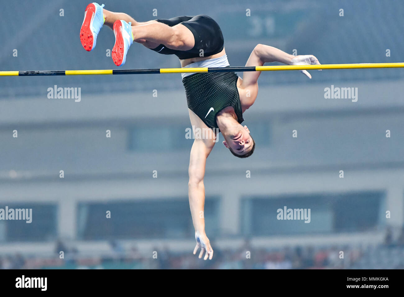 Shanghai, China. 12th May 2018. Pawel Wojciechowski (POL) in action during 2018 IAAF Shanghai Diamond League: MEN'S POLE VAULT at Shanghai Stadium on Saturday, 12 May 2018. SHANGHAI, CHINA. Credit: Taka G Wu Credit: Taka Wu/Alamy Live News - Stock Image
