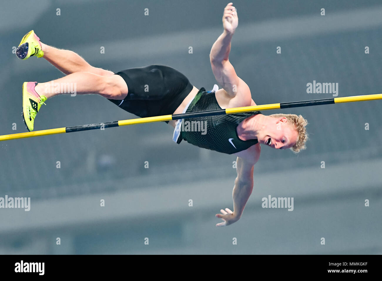 Shanghai, China. 12th May 2018. Menno Vloon (NED) in action  during 2018 IAAF Shanghai Diamond League: MEN'S POLE VAULT at Shanghai Stadium on Saturday, 12 May 2018. SHANGHAI, CHINA. Credit: Taka G Wu Credit: Taka Wu/Alamy Live News - Stock Image