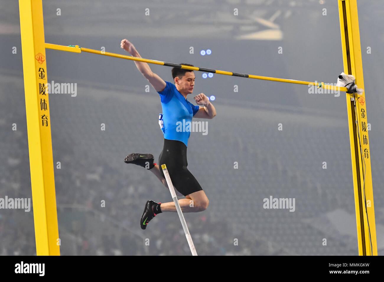 Shanghai, China. 12th May 2018. Jao Jie (CHN) in action during 2018 IAAF Shanghai Diamond League: MEN'S POLE VAULT at Shanghai Stadium on Saturday, 12 May 2018. SHANGHAI, CHINA. Credit: Taka G Wu Credit: Taka Wu/Alamy Live News - Stock Image