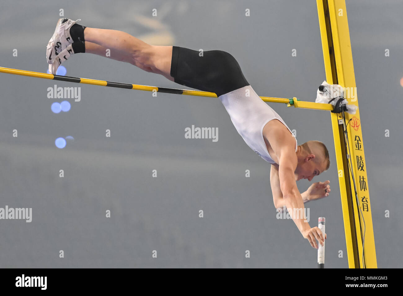 Shanghai, China. 12th May 2018. Sam Kendricks (USA) in aceton during 2018 IAAF Shanghai Diamond League: MEN'S POLE VAULT at Shanghai Stadium on Saturday, 12 May 2018. SHANGHAI, CHINA. Credit: Taka G Wu Credit: Taka Wu/Alamy Live News - Stock Image