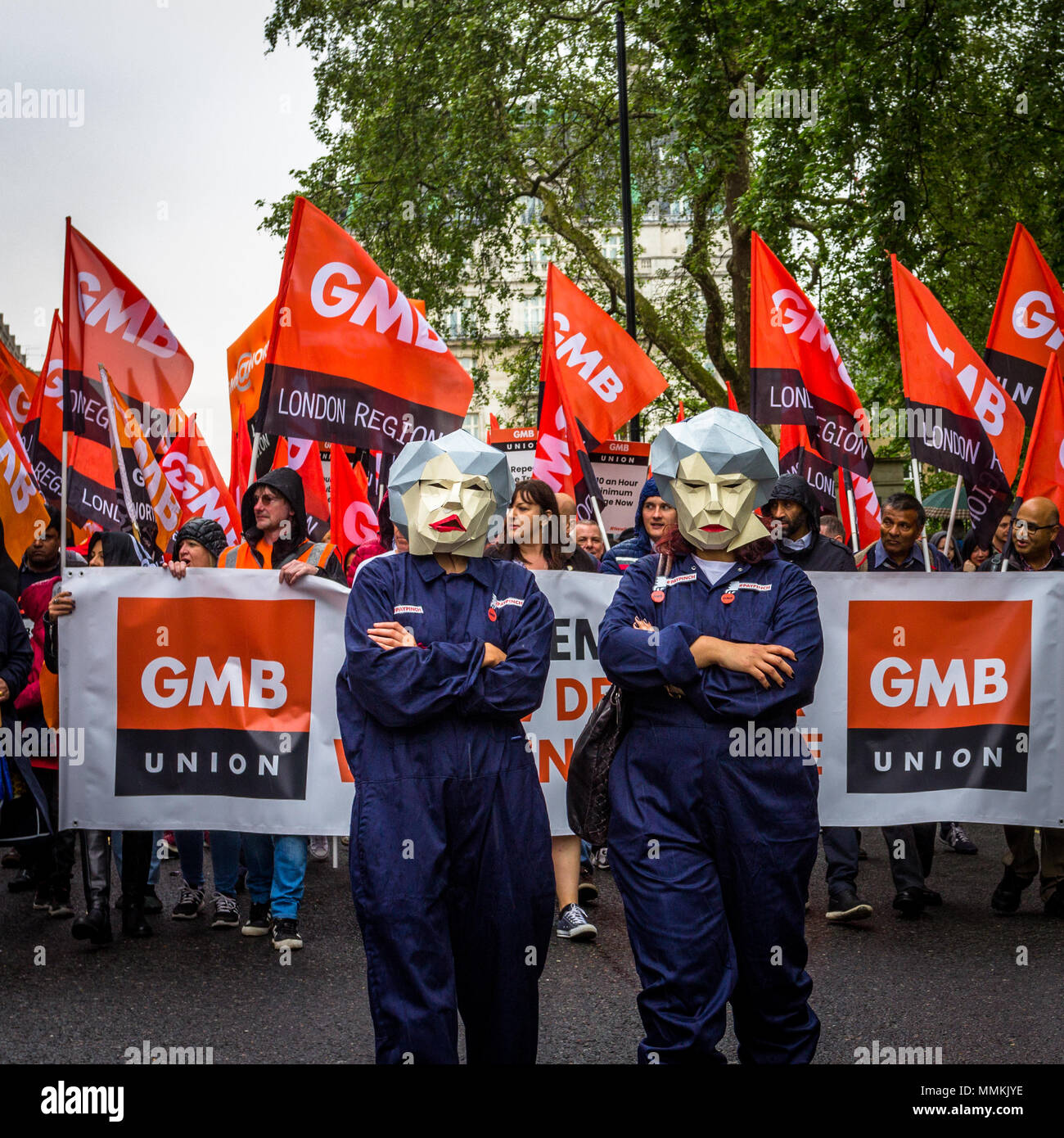 12 May 2018. London, UK. TUC rally to demand 'new deal' for workers, and improved public services. Thousands of protesters marched from Embankment to Hyde Park, calling for higher minimum wage, an end to zero-hours contracts and increased funding for essential public services. - Stock Image
