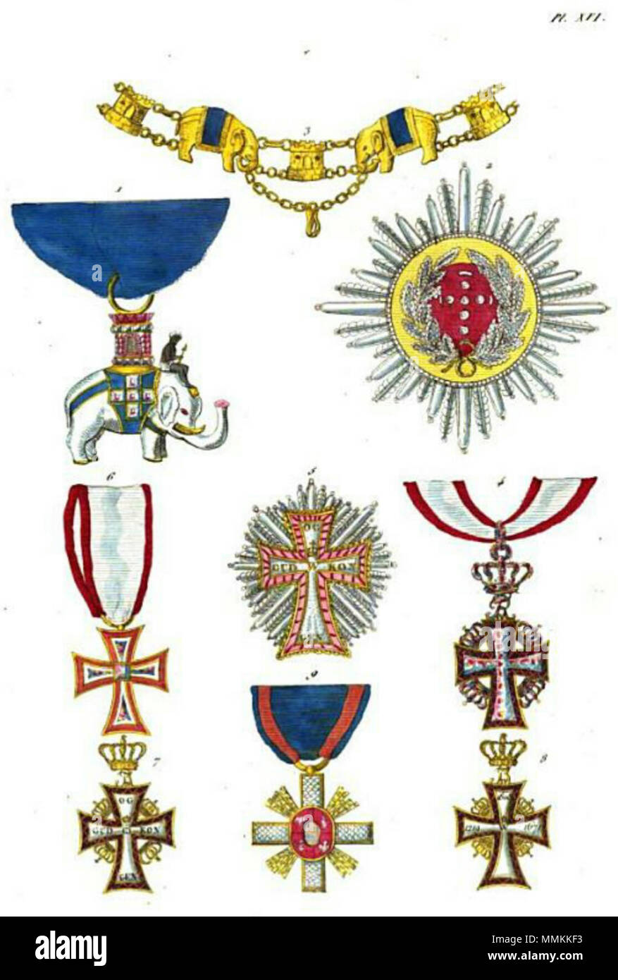 Français : Collection historique des ordres de chevalerie civils et militaires... English: Collection of historical orders of chivalry civil and military...: 1. Order of Elephant, badge (Denmark) 2. Order of Elephant, star (Denmark) 3. Order of Elephant, collar (Denmark) 4. Order of Dannebrog, badge 1st class (Denmark) 5. Order of Dannebrog, star (Denmark) 6. Order of Dannebrog, badge 2nd class with diamonds (Denmark) 7. Order of Dannebrog, badge 4th class obverse (Denmark) 8. Order of Dannebrog, badge 4th class reverse (Denmark) 9. Order of Fidelity or Ordre de l'Union Parfaite (Denmark) . 18 - Stock Image