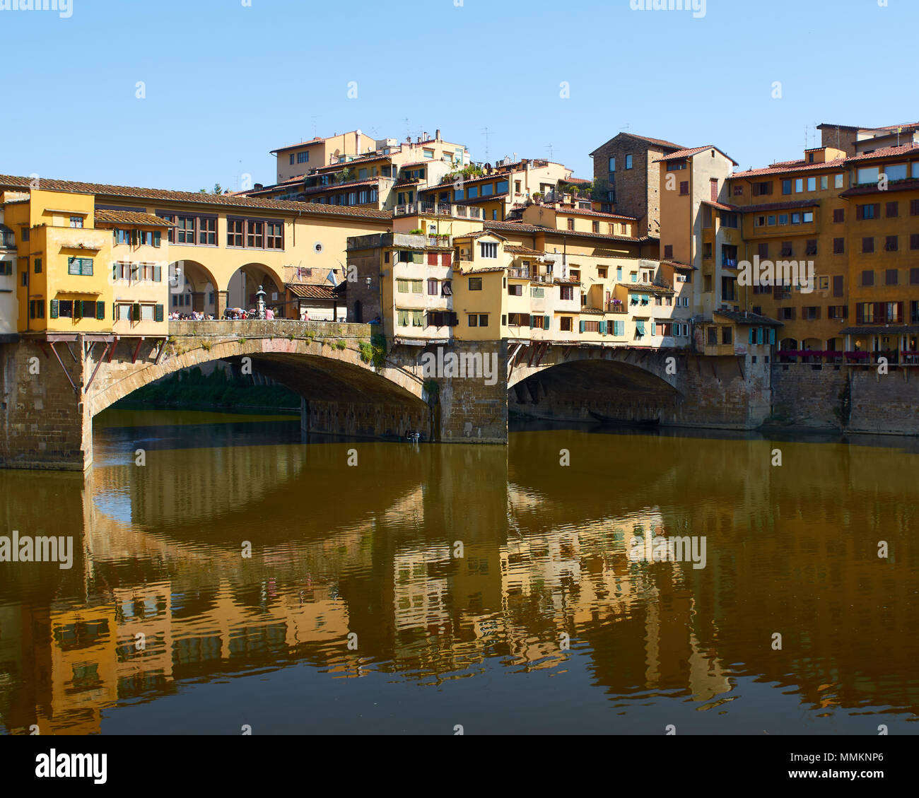 Ponte Vecchio Reflection, Florence, Italy - Stock Image