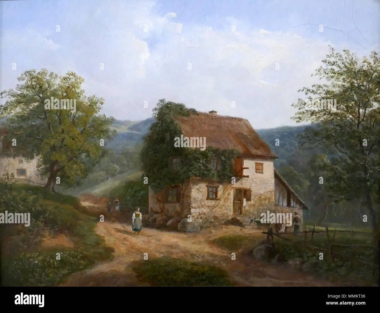 . Français : David Ortlieb, Wasserbourg, l'entrée du village. (1816) Huile sur toile. Musée Unterlinden, Colmar.  . 12 October 2016, 11:25:34. Creator:David Ortlieb; Ji-Elle David Ortlieb-Wasserbourg Stock Photo