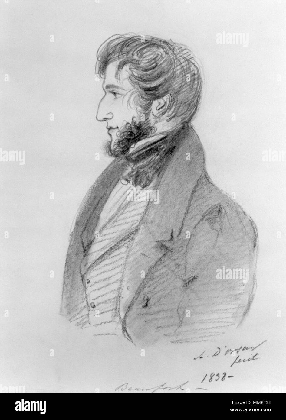 . Portrait of Henry Somerset, 7th Duke of Beaufort.  by Alfred, Count D'Orsay, pencil and chalk, 1838 Beaufort7 - Stock Image