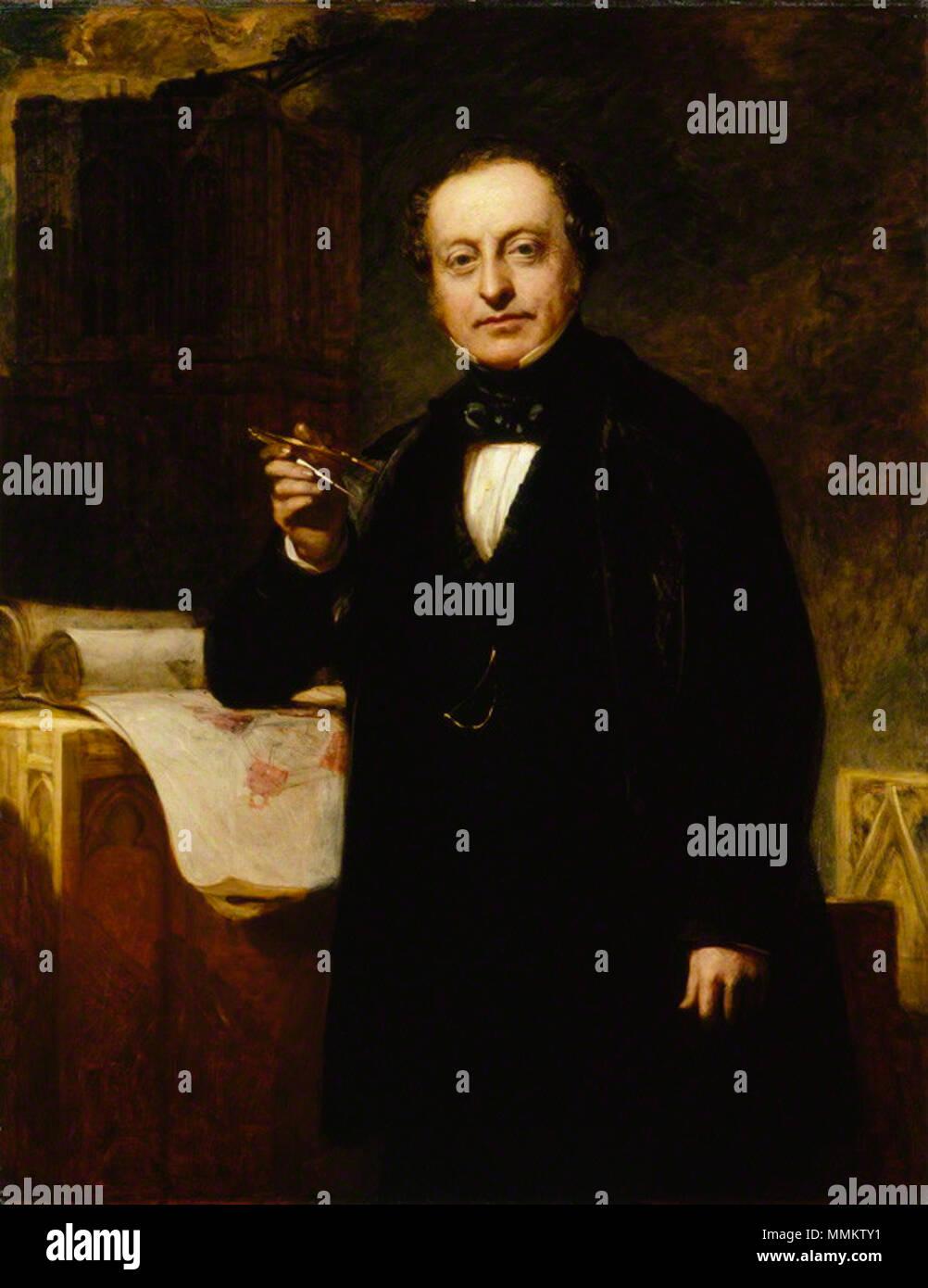 by John Prescott Knight, oil on canvas, circa 1851 Sir Charles Barry by John Prescott Knight - Stock Image