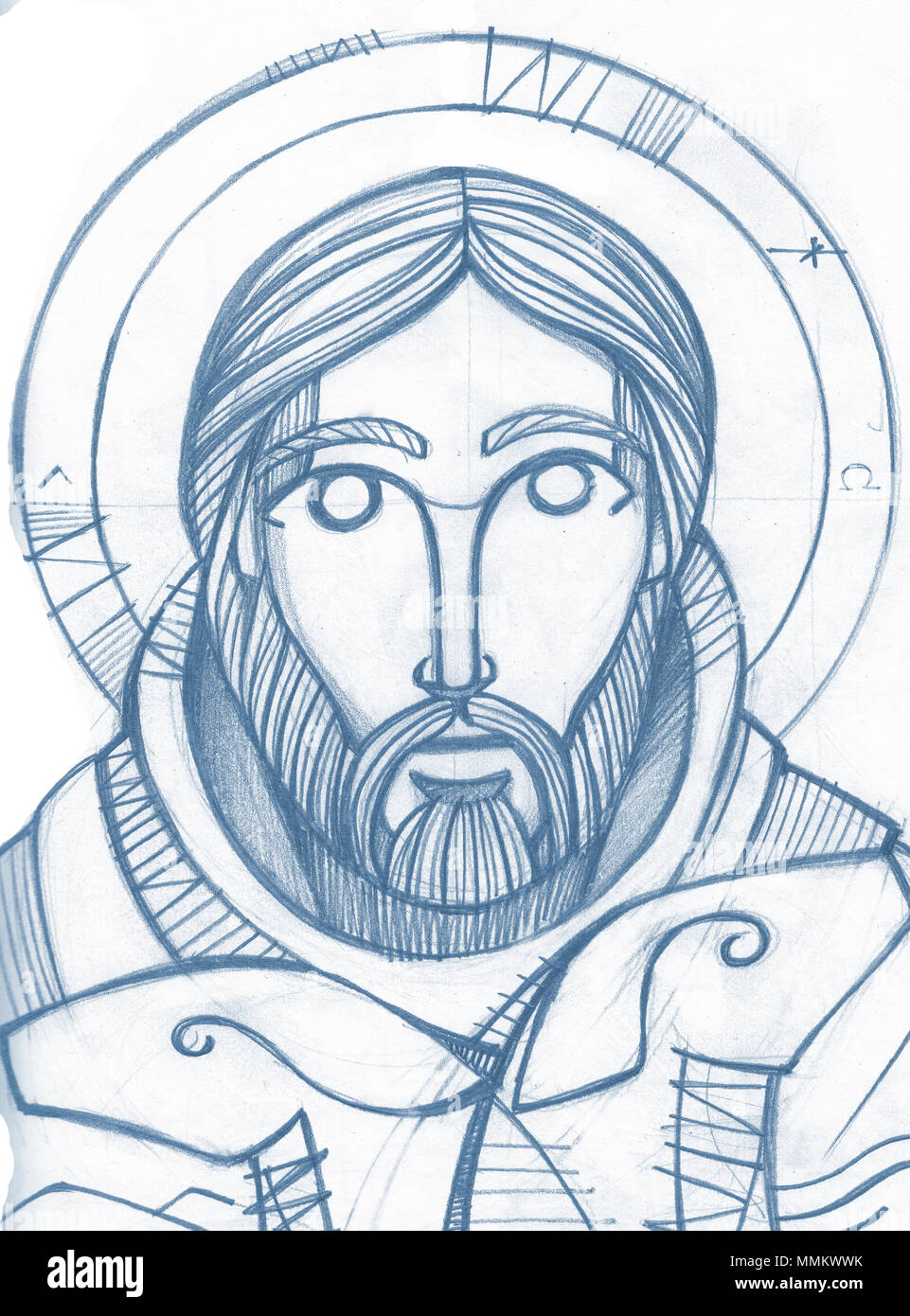 Hand drawn pencil illustration or drawing of jesus christ good
