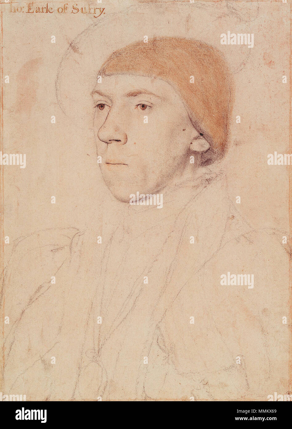 . English: Portrait of Henry Howard, Earl of Surrey. Black and coloured chalks, reinforced with pen and Indian ink, on pink-primed paper, 29 × 21 cm, Royal Collection, Windsor Castle. The inscription, added later, is false. This drawing has been much restored. Art historian K. T. Parker remarked: 'Though very much rubbed and injured by retouching, the drawing seems originally to have been genuine. With what a lack of understanding the restorer went to work is shown by the hair which has now the appearance of being covered by a kerchief' (K. T. Parker, The Drawings of Hans Holbein at Windsor Ca - Stock Image