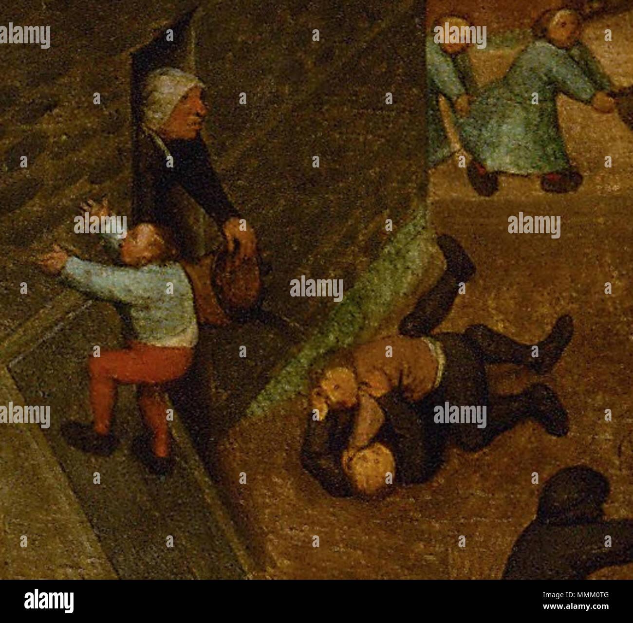 .  Deutsch: Eine alte Frau schüttet einen Eimer Wasser über zwei Raufbolde. Detail aus Die Kinderspiele  Children's Games. circa 1560. Frau mit Eimer (Kinderspiele) Stock Photo