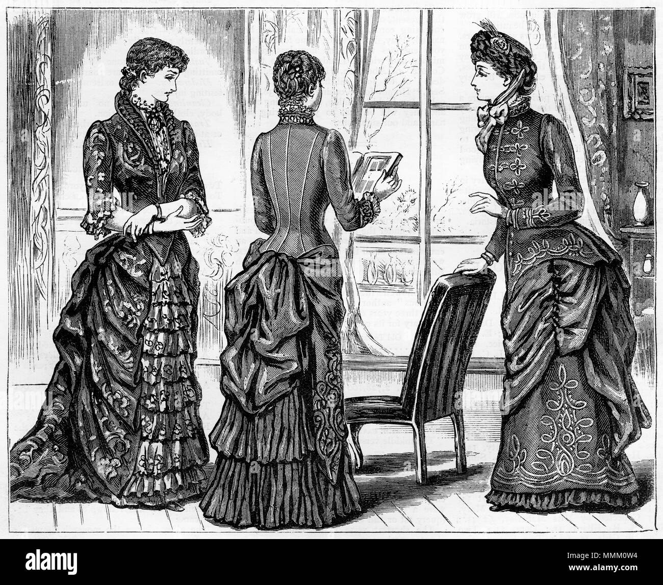 Engraving of three young woman in fashionable gowns of the era. From ...