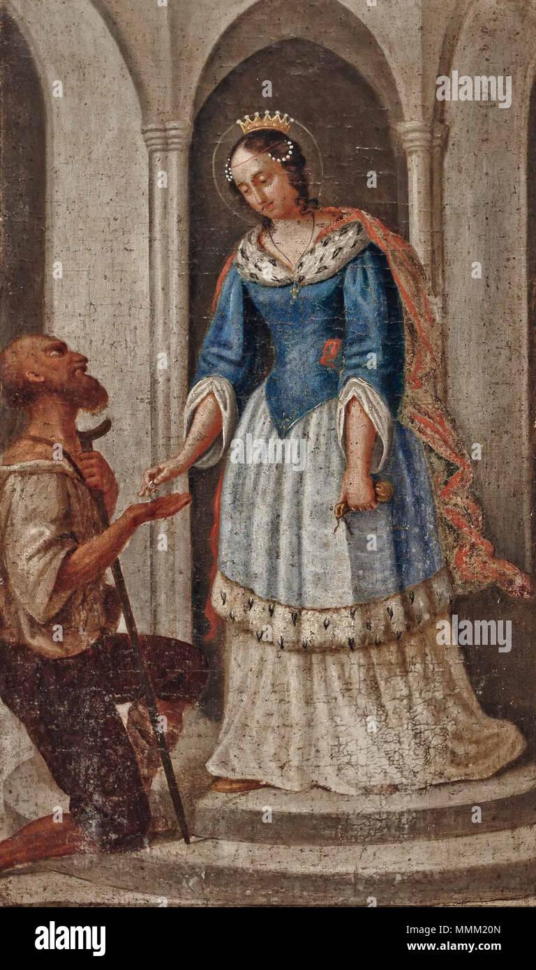 . 'Die Hl. Elisabeth verteilt Almosen', Öl auf Leinwand, ca. 70 x 41 cm  . turn of the 18/19th century. Anonymous Hl Elisabeth verteilt Almosen c1800 - Stock Image