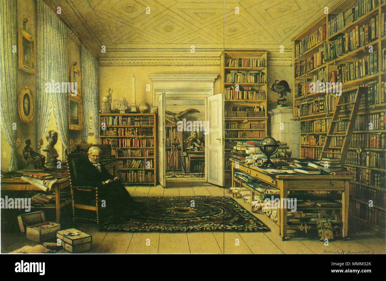 Arbeitszimmer des Alexander von Humboldt in Berlin, Oranienburger Str. 67 (Gemälde) Stock Photo