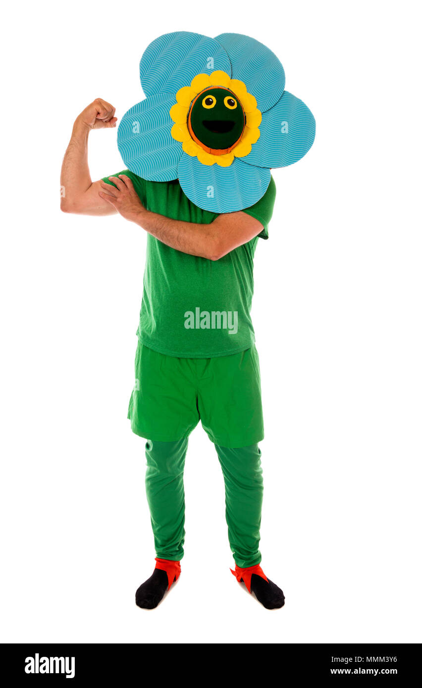 Flower Power for Peace, a person in a flower costume. - Stock Image