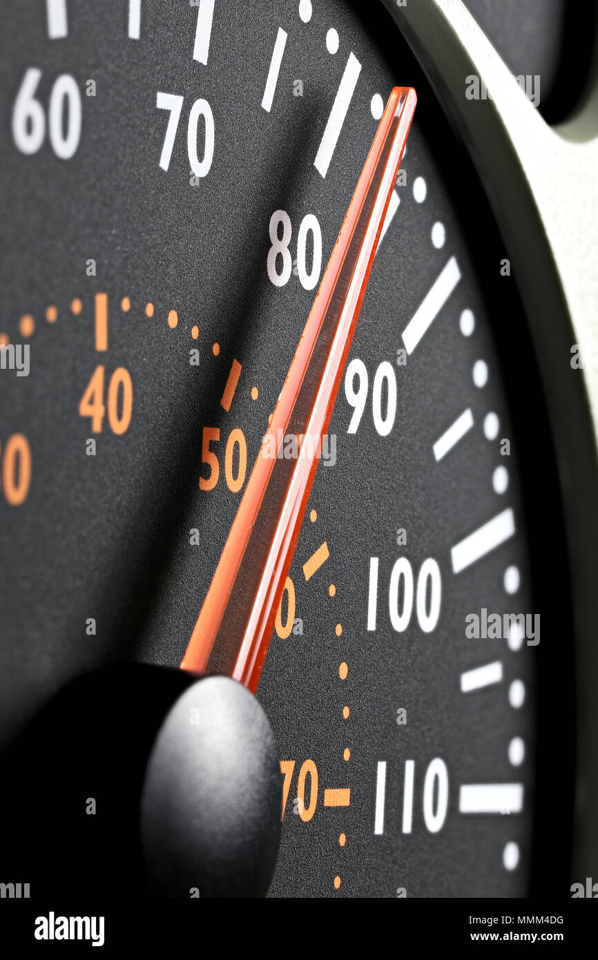 speedometer of a truck at cruising speed of 80 km/h Stock Photo