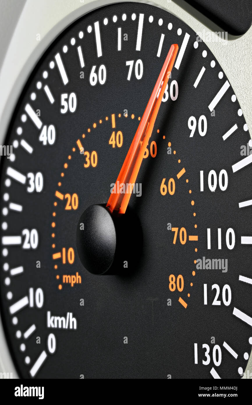 speedometer of a truck at cruising speed of 80 km/h - Stock Image