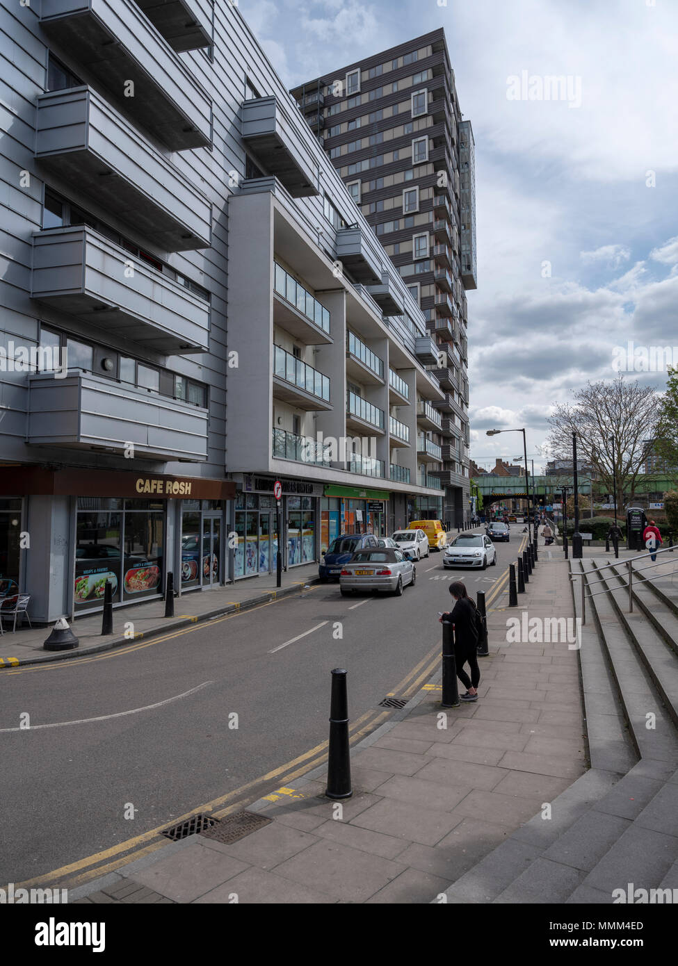 Street view Shadwell, east London, showing gentrification and regeneration of the inner city and east end - Stock Image