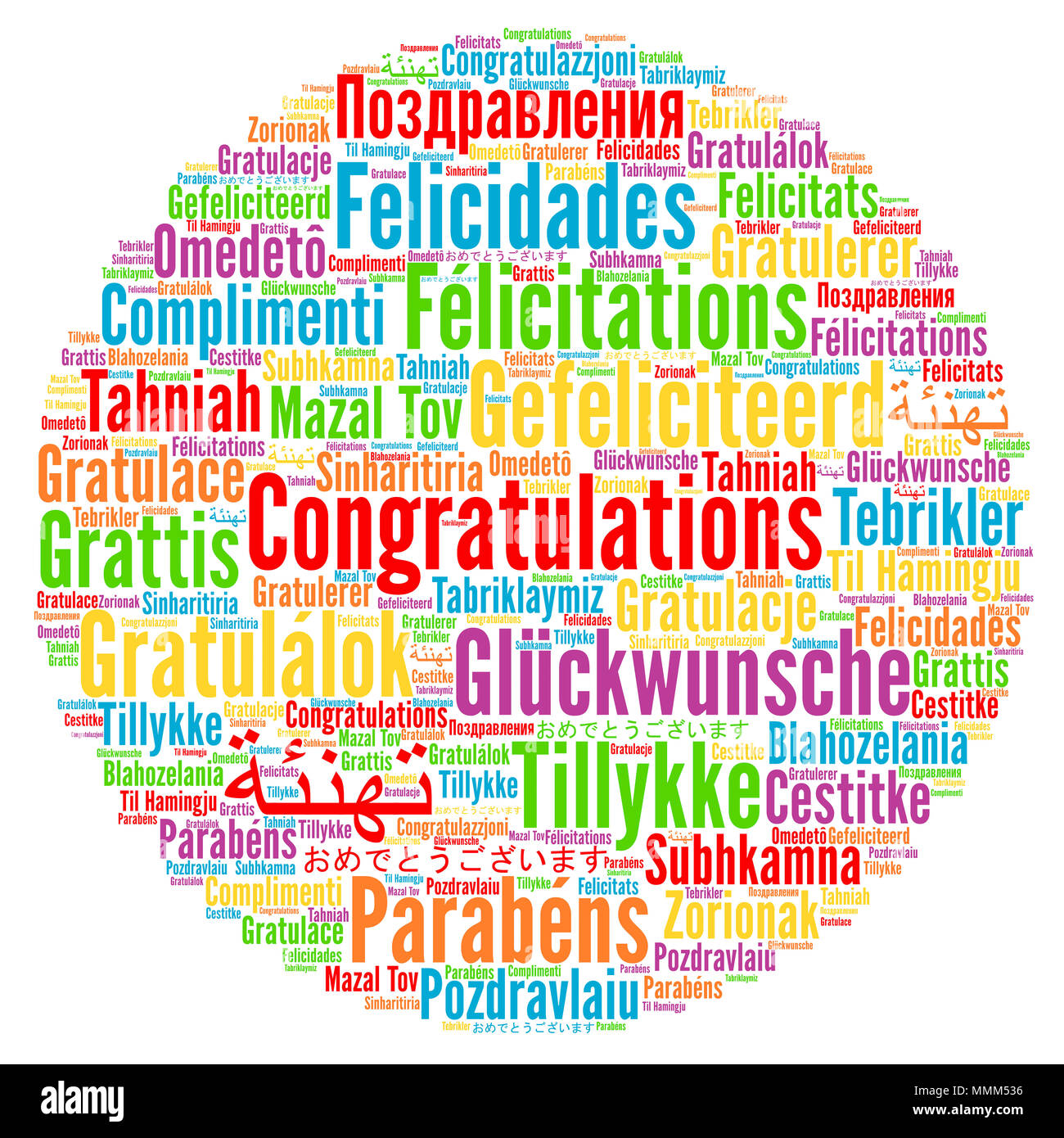 Congratulations in different languages word cloud Stock
