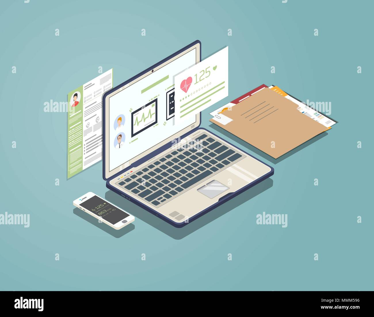 Medical laptop concept - Stock Image