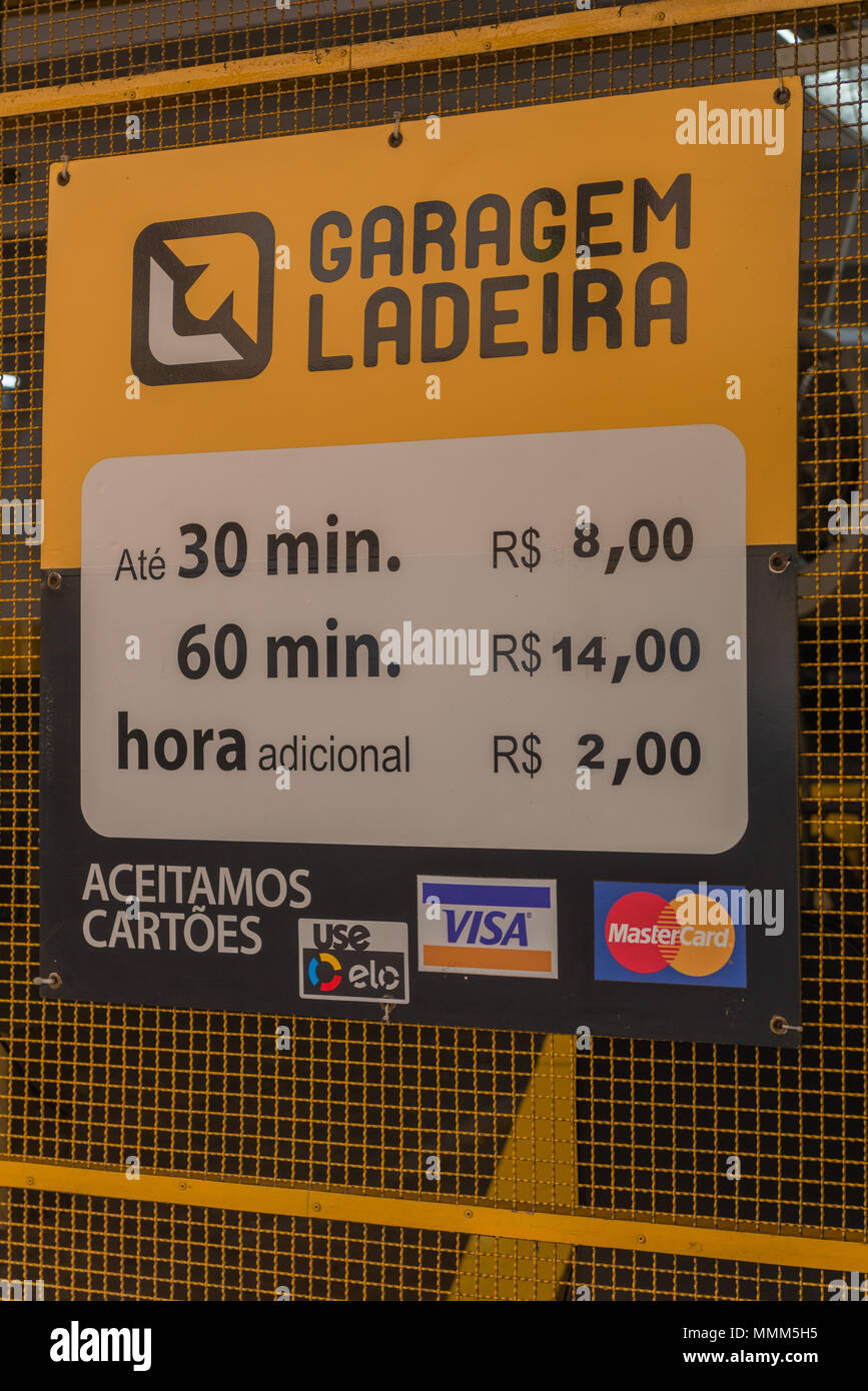 Parking fee in a multi-storey car park, payable cash or with credit card, 8 Rial correlate 2 Euros, city centre, Rio Alegro, Rio Grande do Sul, Brazil - Stock Image