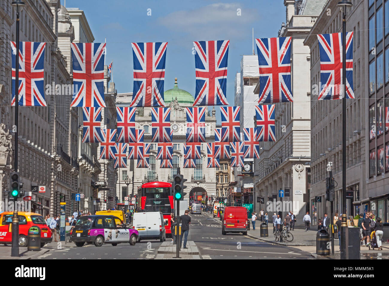 London, Westminster.  Union flags decorating Lower Regent Street prior to the royal wedding of 2018 - Stock Image
