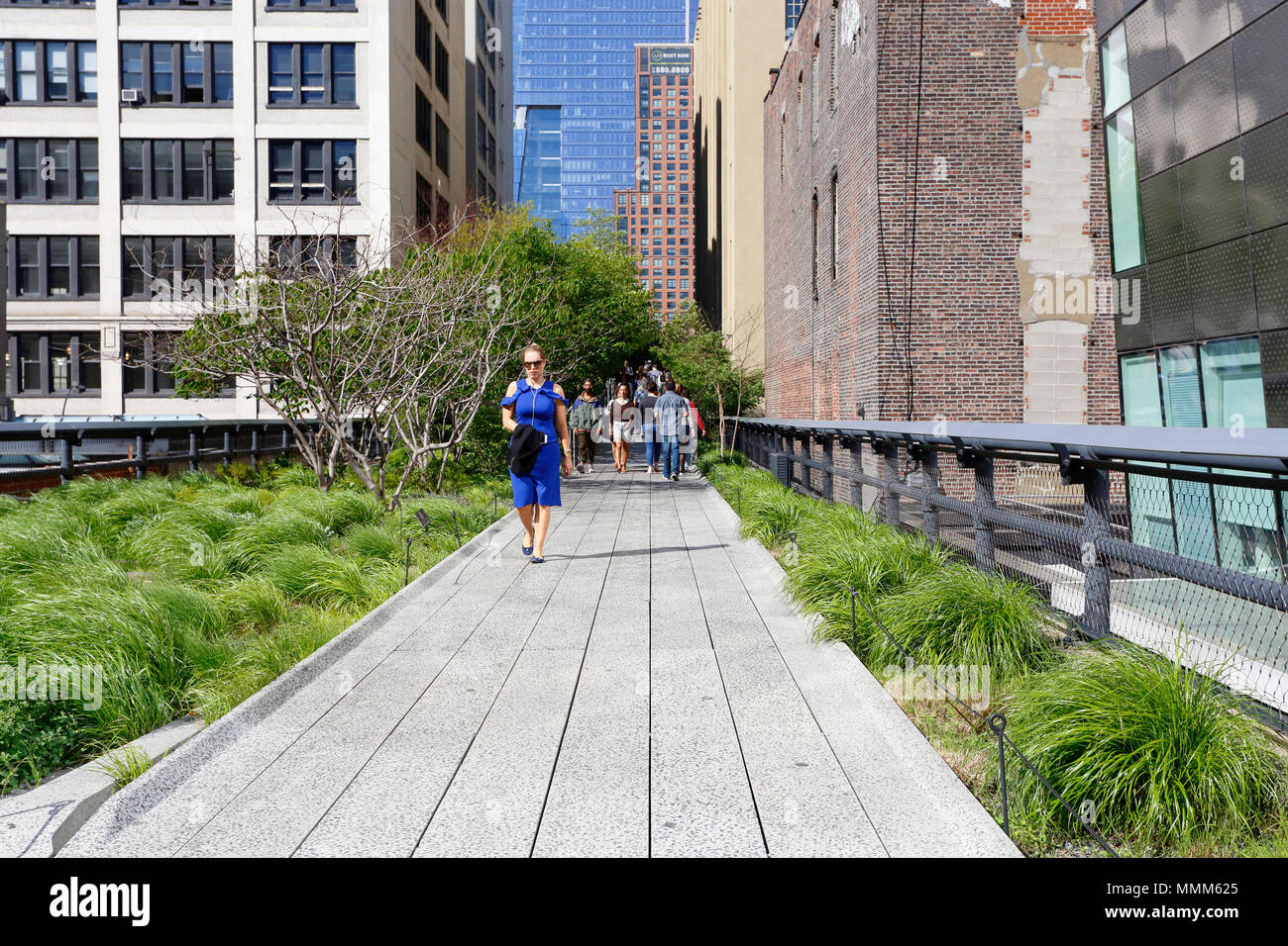 People on the High Line park - Stock Image