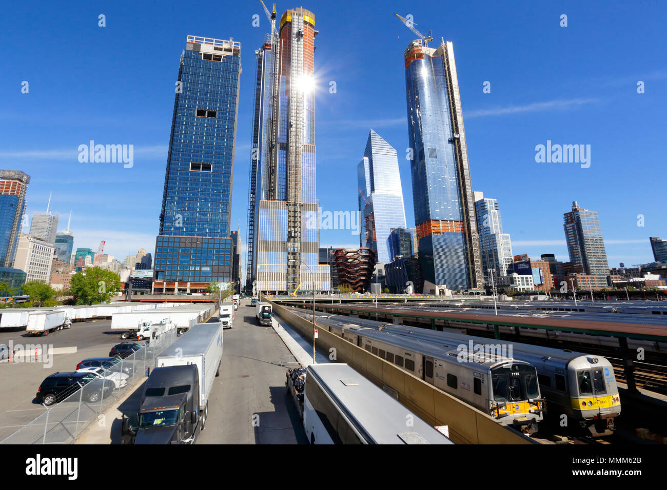 Hudson Yards Skyscrapers loom over the West side of Manhattan - Stock Image