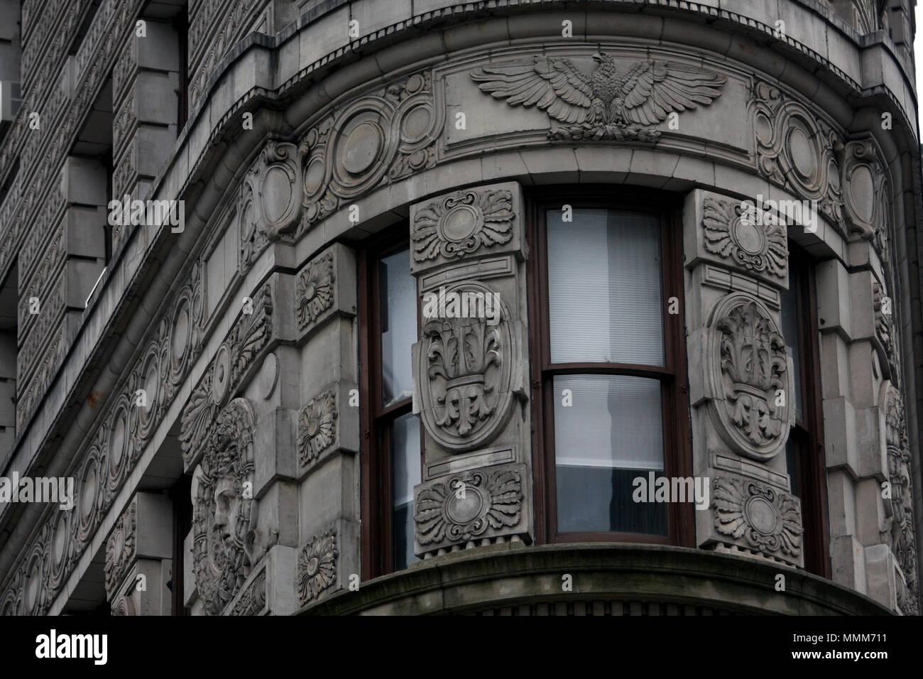 The Flatiron building near Madison Square Park and Flatiron District in Manhattan, New York City - Stock Image