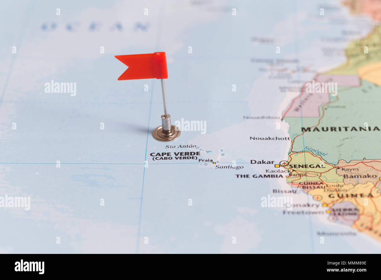 Where Is Cape Verde Located On The World Map.Small Red Flag Marking The Cape Verde Islands Of The West Coast Of