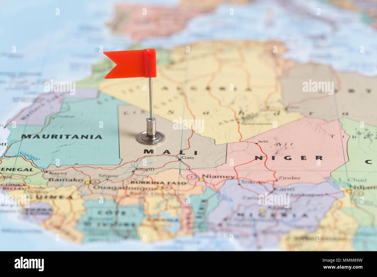 Small red flag marking the african country of mali on a world map small red flag marking the african country of mali on a world map gumiabroncs Choice Image