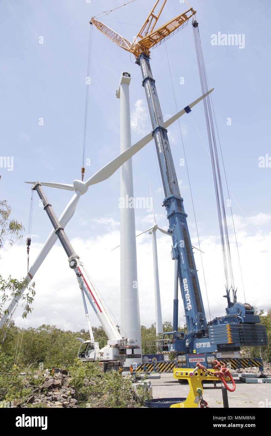 la première centrale éolienne du pays, à Bras-d'Eau. Il a ainsi annoncé la mise en opération de plusieurs fermes photovoltaïques. - Stock Image