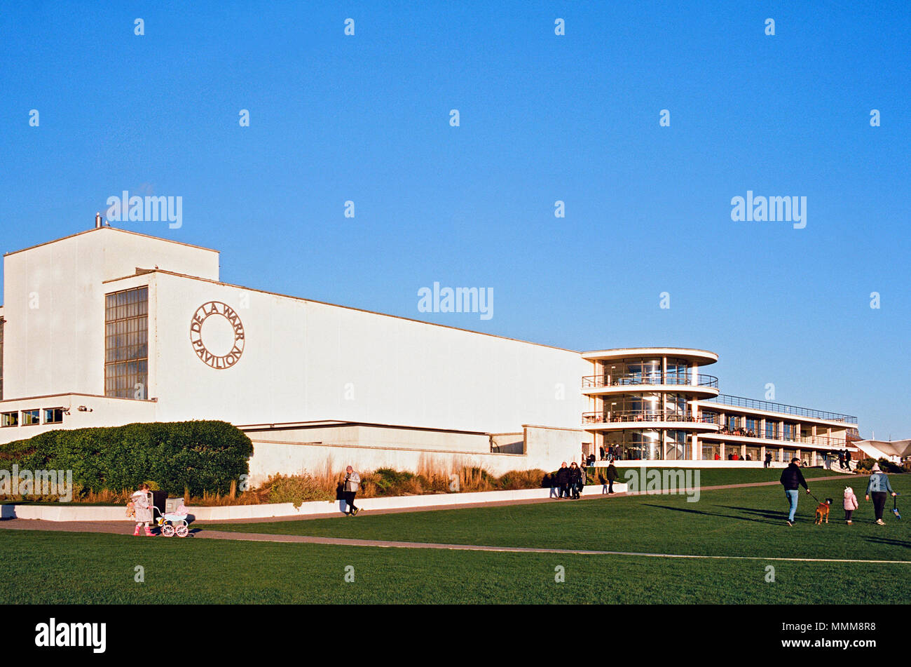 The De La Warr Pavilion on the seafront at Bexhill-On-Sea, East Sussex, UK - Stock Image