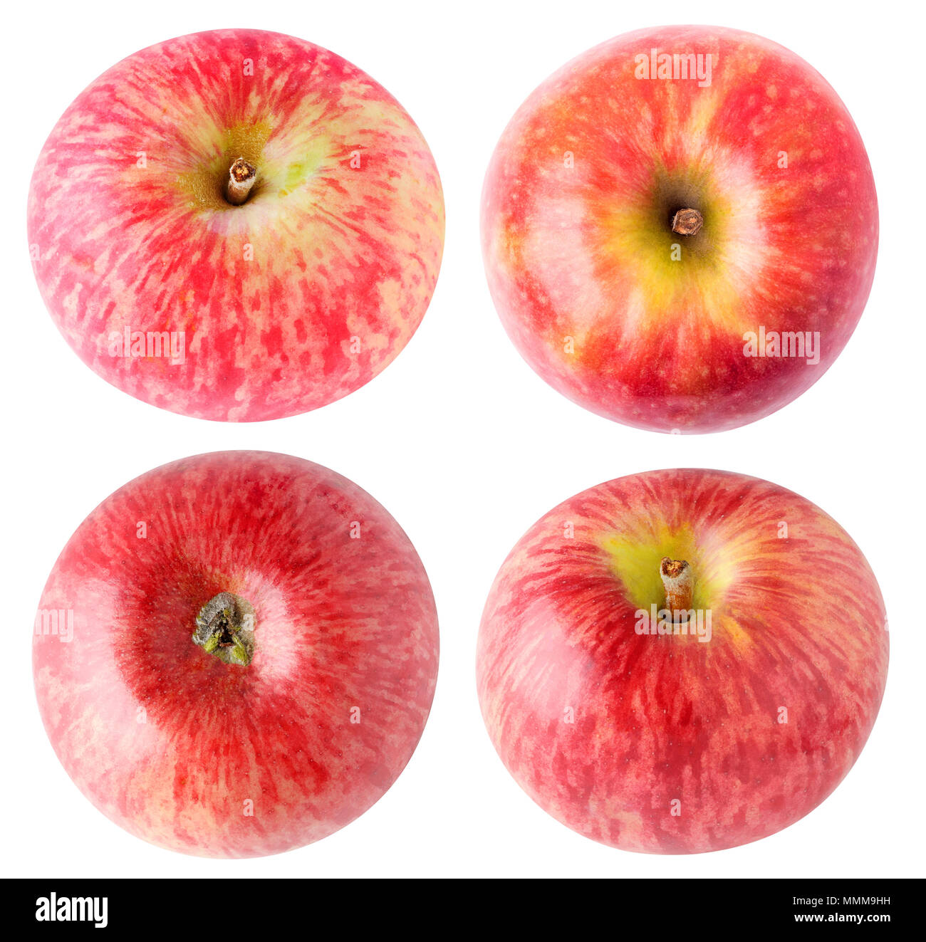 Isolated apples. Collection of red apples, top and bottom view, isolated on white background with clipping path - Stock Image