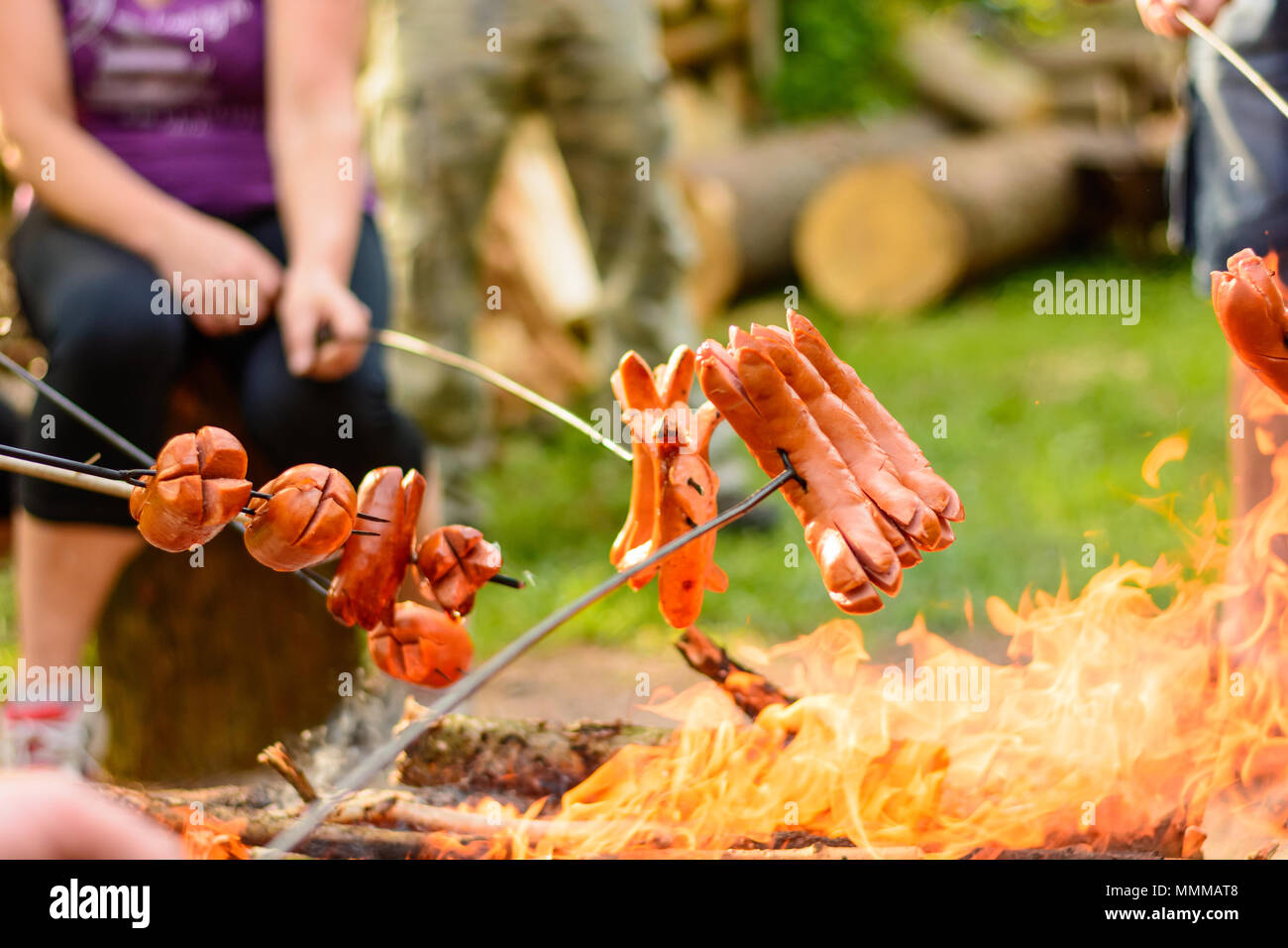 Grilling sausages over a campfire in the forest. Holiday and summer camping in the countryside. Beltaine night in the Czech Republic. May day celebrat - Stock Image