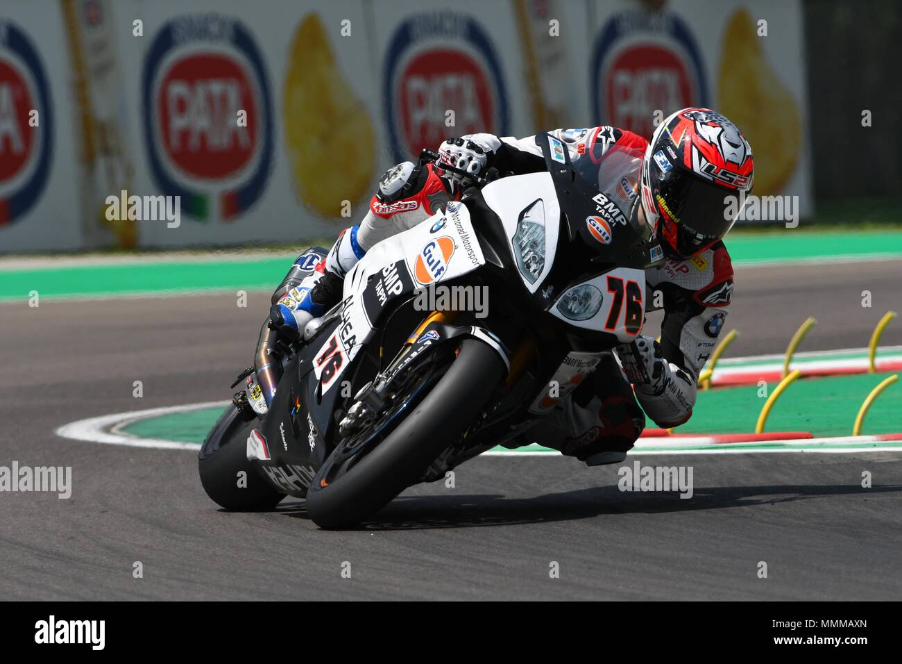 San Marino Italy - May 11, 2018: Loris Baz FRA BMW S 1000 RR GULF ALTHEA BMW Racing Team, in action during the Superbike Qualifying session on May 11, Stock Photo