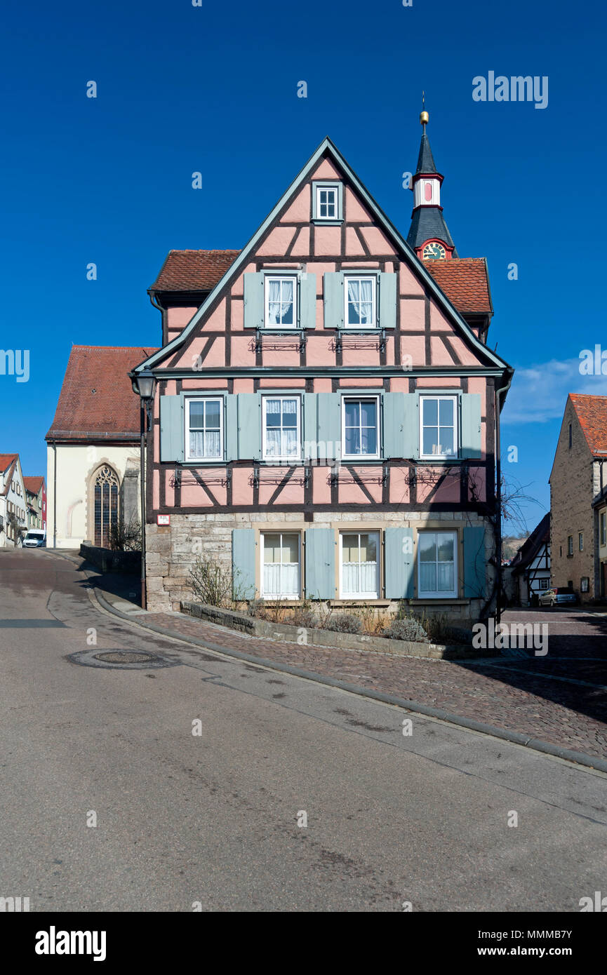 Half-timbered house in Creglingen, Southern Germany - Stock Image