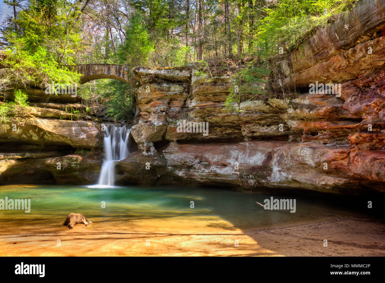 Upper Falls at Old Man's Cave in Hocking Hills Ohio. This is a very popular tourist attraction in Ohio. - Stock Image